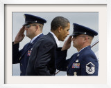 President Barack Obama is Saluted as He Boards Air Force One at Andrews Air Force Base Framed Photographic Print