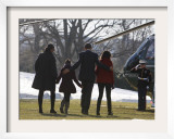 President Barack Obama anf Family Walk on the South Lawn of the White House in Washington Framed Photographic Print
