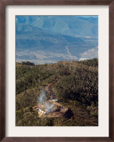 Smoke Rises from a Drilling Rig on the Roan Plateau Framed Photographic Print by Peter M. Fredin