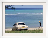 A Cuban Boy Plays Ball at the Baracoa Beach West of Havana, Cuba Framed Photographic Print