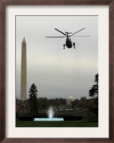 Marine One, with President Barack Obama Aboard, Leaves the White House in Washington Framed Photographic Print