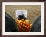 Sri Lankan Buddhist Monk Reads Holy Scriptures on First Day of their New Year at Kelaniya Temple Framed Photographic Print
