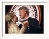 President Clinton Dances with His Wife Hillary at the Veterans Ball Monday Framed Photographic Print