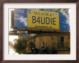 A Billboad Promotes Alaska on the Roof of a Restaurant on the Sunset Boulevard Framed Photographic Print