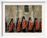 Greek Orthodox Bishops at Easter Mass, Jerusalem, Israel Framed Photographic Print by Emilio Morenatti