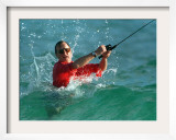 Waves Splash President-Elect George Bush as He Casts a Line While Surf-Fishing Framed Photographic Print