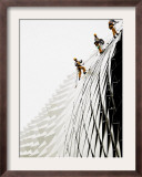 Workers Climb Down the Roof of Singapore's Spikey Fruit Shaped Esplanade Arts Center Framed Photographic Print