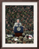 President Bush Speaks to Marines During a Visit to Camp Pendleton Base in San Diego Framed Photographic Print