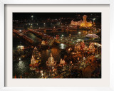 Hindu Devotees Gather to Bathe in River Ganges During the Kumbh Mela Festival in Haridwar, India Framed Photographic Print