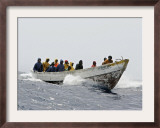 Some of the Thirty to Forty African Migrants, Attempting to Reach Spain, Travel in a Small Boat Framed Photographic Print