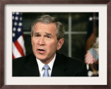 President Bush Delivers a Portion of His Speech for a Second Time for Assembled News Photographers Framed Photographic Print