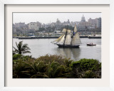 US-Flagged Vessel Amistad Nears the Port of Havana Framed Photographic Print