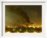 Government Building Burns During Heavy Bombardment of Baghdad, Iraq by U.S.-Led Forces Framed Photographic Print