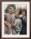 Brothers, John F. Kennedy, Robert Kennedy, and Ted Kennedy, Right, in Hyannis Port, Massachusetts Framed Photographic Print
