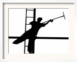 Silhouetted against the Bright Morning Sun, a Window Cleaner Stretches to Clean a Spot Framed Photographic Print