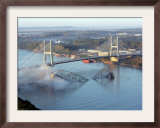 Smoke Rises from the Surface of the Mississippi River, Missouri Framed Photographic Print