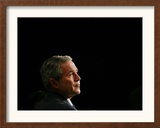 President Bush Listens to Statements Framed Photographic Print