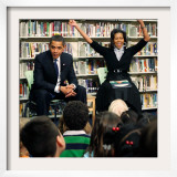 Before President Barack Obama and Wife Read to Second Graders at Capital City Public Charter School Framed Photographic Print