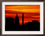 Sun Sets Behind the Kansas Statehouse in Downtown Topeka Framed Photographic Print