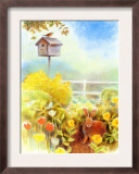 Birdhouse and Bunny in Garden Print