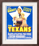 The Texans, Randolph Scott, Joan Bennett on Window Card, 1938 Poster