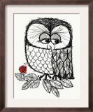 Retro Black and White Owl with Ladybug Posters