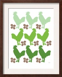 Green Chicken Family Print by  Avalisa