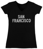 Juniors: V-Neck- San Francisco Neighborhoods Womens V-Necks