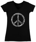 Juniors: V-Neck- Peace in 77 Languages T-shirts