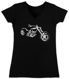 Juniors: V-Neck- Motorcycle Womens V-Necks