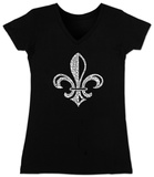 Juniors: V-Neck- Saints Go Marching In Fleur De Lis T-Shirt