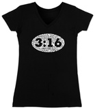 Juniors: V-Neck- John 3:16 Womens V-Necks