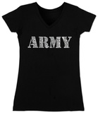 Juniors: V-Neck- Lyrics To The Army Song T-Shirt