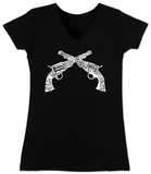 Juniors: V-Neck- Pistols Womens V-Necks