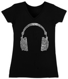 Juniors: V-Neck- Headphones out of Different Music Genre&#39;s V&#234;tements