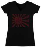 Juniors: V-Neck- Banzai Flag out of Japanese National Anthem T-Shirt