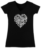Juniors: V-Neck-  Love Heart in Cursive Script T-shirts