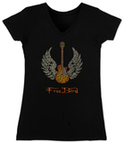 Juniors: V-Neck- Freebird Lyrics Camiseta