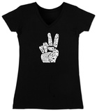 Juniors: V-Neck- Give Peace a Chance Fingers T-Shirt