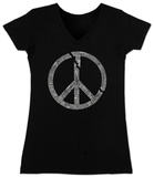 Juniors: V-Neck- Broken Peace T-shirts