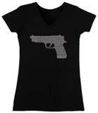 Juniors: V-Neck- Gun created out of 2nd Amendment Shirts