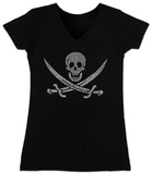 Juniors: V-Neck- Pirate Flag T-shirts