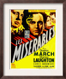 Les Miserables, Charles Laughton, Fredric March on Window Card, 1935 Prints