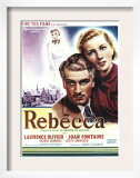 Rebecca, Laurence Olivier, Joan Fontaine on Belgian Poster Art, 1940 Art