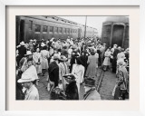 Japanese-American Internees Waiting to Board Train to Santa Anita, Los Angeles, c.1942 Prints