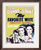 My Favorite Wife, Cary Grant, Irene Dunne, Gail Patrick on Window Card, 1940 Print