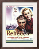 Rebecca, Laurence Olivier, Joan Fontaine on Belgian Poster Art, 1940 Print
