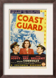 Coast Guard, Randolph Scott, Frances Dee, Ralph Bellamy on Midget Window Card, 1939 Art