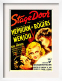 Stage Door, Adolphe Menjou, Ginger Rogers, Katharine Hepburn on Midget Window Card, 1937 Posters