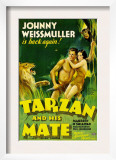 Tarzan and His Mate, Johnny Weissmuller, Maureen O&#39;sullivan, 1934 Poster